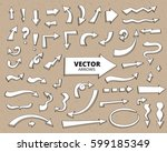 set of hand drawn doodle arrows.... | Shutterstock .eps vector #599185349
