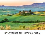beautiful spring landscape in... | Shutterstock . vector #599187059