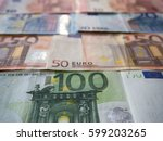 close up of euro currency... | Shutterstock . vector #599203265