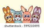 four cartoon funny rabbits....   Shutterstock .eps vector #599210495