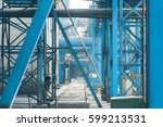 steel pipelines and cables in a ... | Shutterstock . vector #599213531