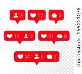 red notifications vector icons... | Shutterstock .eps vector #599221079