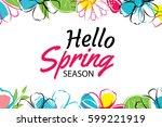 hello spring banner template... | Shutterstock .eps vector #599221919