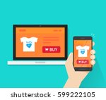 responsive internet shop design ... | Shutterstock .eps vector #599222105