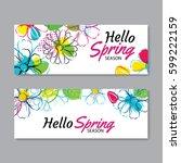 hello spring season banner... | Shutterstock .eps vector #599222159