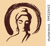 buddhas face  yoga and... | Shutterstock .eps vector #599233415