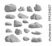 rocks and stones set on white... | Shutterstock .eps vector #599234837