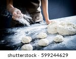 making dough by female hands at ... | Shutterstock . vector #599244629