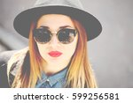 street fashion concept  ...   Shutterstock . vector #599256581