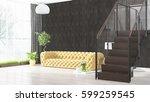 modern bright interior . 3d... | Shutterstock . vector #599259545