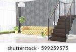 modern bright interior . 3d... | Shutterstock . vector #599259575