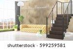 modern bright interior . 3d... | Shutterstock . vector #599259581