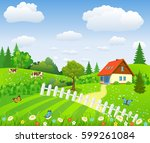 rural landscape with fields and ... | Shutterstock . vector #599261084