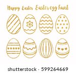 easter eggs made of gold... | Shutterstock .eps vector #599264669