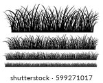 Set of silhouettes of grass, collection of  borders, EPS 8.