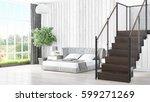modern bright interior . 3d... | Shutterstock . vector #599271269