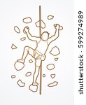 man climbing on the wall... | Shutterstock .eps vector #599274989