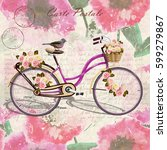 vintage  bicycle poster. | Shutterstock .eps vector #599279867