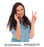 happy young casual woman... | Shutterstock . vector #599284979