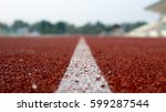 running track for the athletes... | Shutterstock . vector #599287544