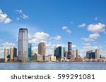 new jersey skyline over hudson... | Shutterstock . vector #599291081