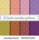 8 easter seamless patterns | Shutterstock .eps vector #599292254