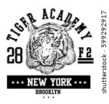 vector retro tiger mascot... | Shutterstock .eps vector #599292917