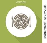 pizza vector icon.   Shutterstock .eps vector #599297081