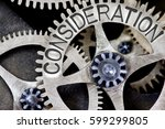 Small photo of Macro photo of tooth wheel mechanism with CONSIDERATION concept letters