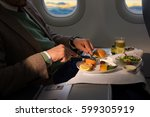 food served on board of... | Shutterstock . vector #599305919