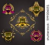 set of golden royal shields... | Shutterstock .eps vector #599306051