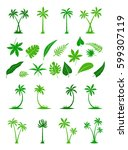 silhouettes of tropical leaves... | Shutterstock .eps vector #599307119