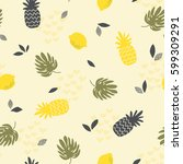 seamless pattern with... | Shutterstock .eps vector #599309291