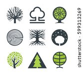 vector trees with stylized... | Shutterstock .eps vector #599313269