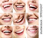 beautiful smiles set. perfect... | Shutterstock . vector #599314247