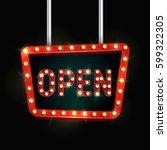 shining retro billboard.... | Shutterstock .eps vector #599322305