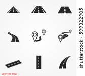 road icons | Shutterstock .eps vector #599322905