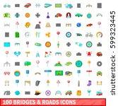 100 bridges and roads icons set ... | Shutterstock .eps vector #599323445