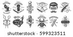 set of vintage barbershop... | Shutterstock . vector #599323511