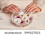 spa therapy for hands in the... | Shutterstock . vector #599327021