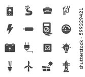 vector black electricity icons... | Shutterstock .eps vector #599329421