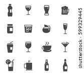 vector black drinks icons set | Shutterstock .eps vector #599329445
