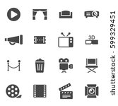 vector black cinema icons set | Shutterstock .eps vector #599329451