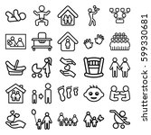 family icons set. set of 25... | Shutterstock .eps vector #599330681