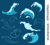 set of sea waves of different... | Shutterstock .eps vector #599335901