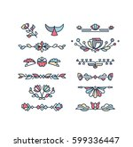 vector set of color floral... | Shutterstock .eps vector #599336447