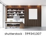 dark wooden workplace with a... | Shutterstock . vector #599341307