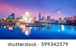 downtown cleveland skyline from ... | Shutterstock . vector #599342579