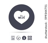 love free wifi sign. wifi... | Shutterstock .eps vector #599344751