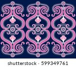 seamless wide dark border  with ... | Shutterstock .eps vector #599349761